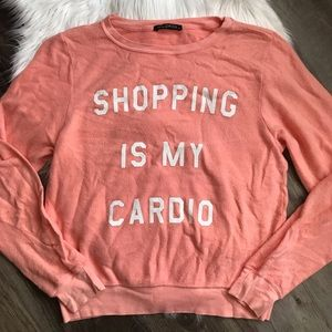 NEW | Wildfox 'Shopping Is My Cardio' Jumper Coral